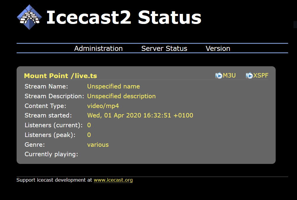 icecast admin interface showing streams